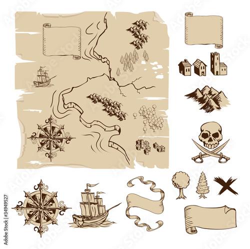 Fotografie, Obraz  Make your own fantasy or treasure maps
