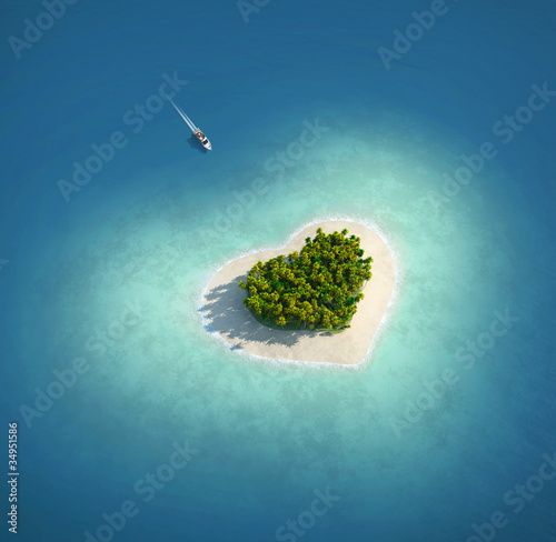 Foto-Schiebegardine Komplettsystem - Paradise Island in the form of heart