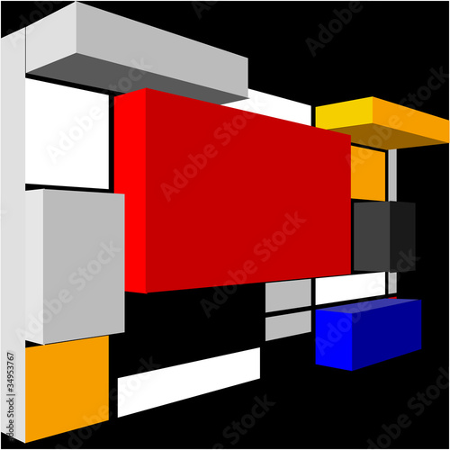 Valokuva  3D Seamless abstract geometric colorful vector pattern for conti