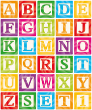 Vector Baby Blocks Set 1 Of 3 - Capital Letters Alphabet