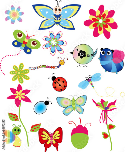 Poster Oiseaux, Abeilles Colorful set of spring illustrations