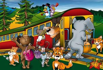 Putovanje vlakom - ilustracija pozadine crtića, bitmapa