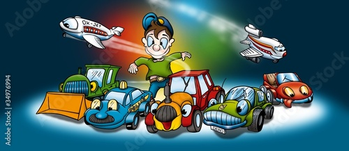 Poster de jardin Voitures enfants Transportation - Cartoon Background Illustration