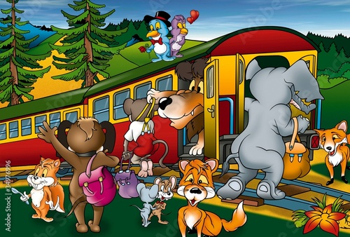 Poster Oiseaux, Abeilles Train Trip - Cartoon Background Illustration, Bitmap