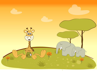 Fototapetababy giraffe in jungle