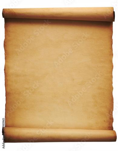 Fotografía  Foglio di pergamena su fondo bianco