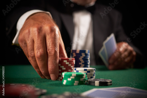 card player gambling casino chips плакат