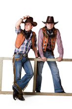 Portrait Of Two Cowboys To The Utmost Isolated On A White Backgr