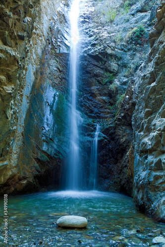 Garden Poster Blue jeans Chantara Waterfalls in Trodos mountains, Cyprus