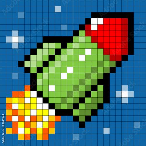Autocollant pour porte Pixel Pixel Rocket in Space