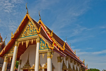 Golden Thailand Temple And Blue Sky, Wat Yai Sawang Arom