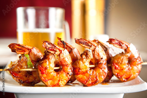 Poster Coquillage Shrimp grilled with beer