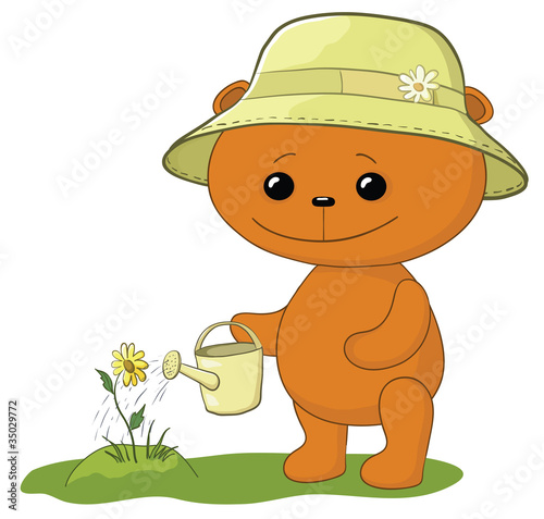 Wall Murals Bears Teddy bear watering a flower