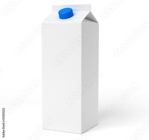 Fotografie, Obraz  Brique de lait blanche sur fond blanc 1