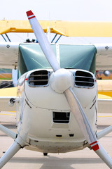 FototapetaFront view of small jet and propeller