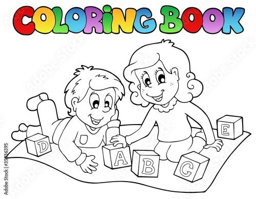 Tuinposter Doe het zelf Coloring book with kids and bricks