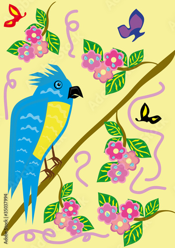 Poster Oiseaux, Abeilles Tropical ridiculous parrot and floral background