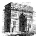 Triumphal Arch or Arc de Triomphe, Paris, France. Vintage engrav