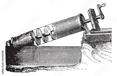 Photo Archimedes screw vintage engraving