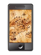 Smartphone Mit Schatzkarte