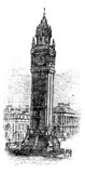 Albert Memorial Clock, in Belfast, Ireland vintage engraving