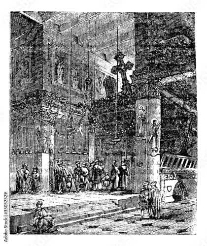 Church of the Nativity, Bethlehem, Israel, vintage engraving. Wallpaper Mural
