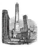 The two medieval Towers of Bologna, Bologna, Italy, vintage engr