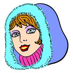 Hand-drawn fashion model. Vector illustration. Woman's face