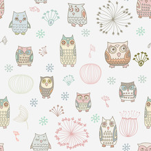 Seamless Background With Colorful Owls