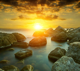 Panel Szklany Współczesny sunset on sen