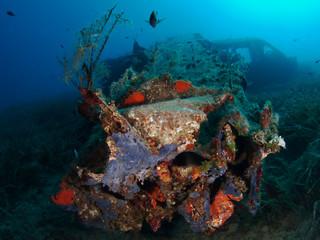 Fototapeta na wymiar Flugzeugwrack Unterwasser