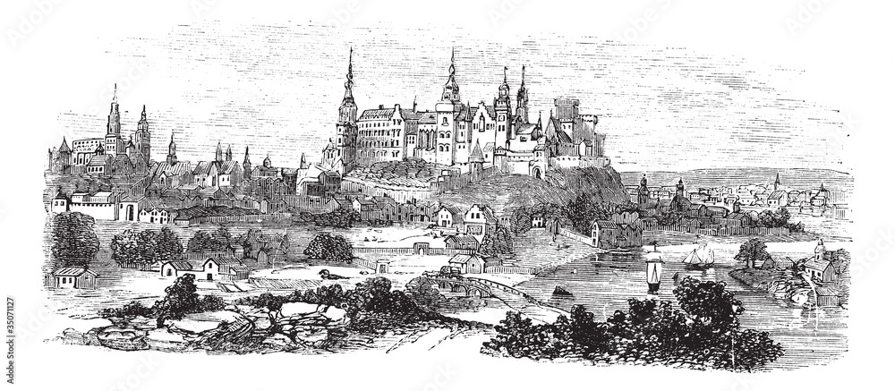 Fototapety, obrazy: Wawel Castle or Royal Castle in Krakow, Poland, during the 1890s