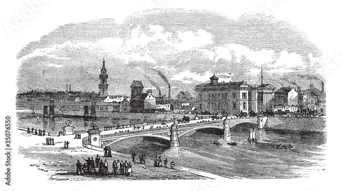 Albert bridge in Glasgow Scotland vintage engraving