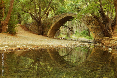 In de dag Cyprus Tzelefos Bridge by the River