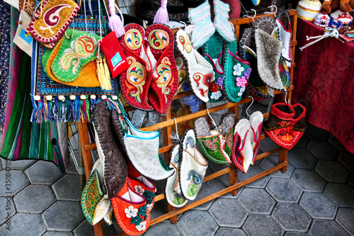 Poster Graffiti Kazakh ethnic shoes with ornaments