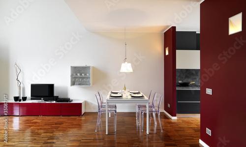 moderno soggiorno con tavolo da pranzo apparecchiato - Buy ...