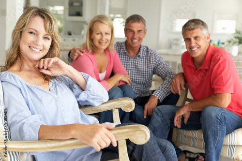 Canvas Prints Akt Mid age couples relaxing at home