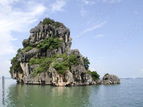 Printed kitchen splashbacks Khaki Rock formations of Halon Bay, Vietnam