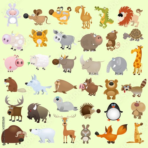 Ingelijste posters Zoo Big vector cartoon animal set