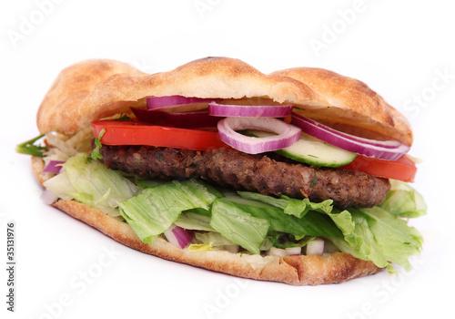 doner kebab sandwich isolated on white