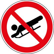 Verbotsschild Schlittenfahren - Rodeln Verboten Zeichen Symbol