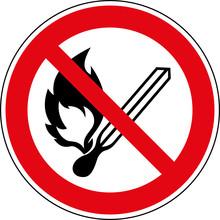 Verbotsschild Feuer - Offenes Licht Und Rauchen Verboten