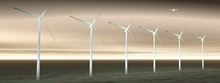 Wind Turbines In Cloudy Nature