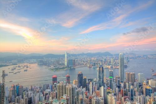 Fotobehang Hong-Kong Hong Kong with office buildings