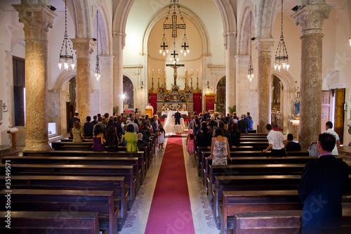 Fotografie, Obraz  Couple getting married in a church