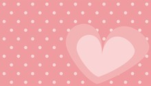 Cute Pink Heart With Polka Dots Background