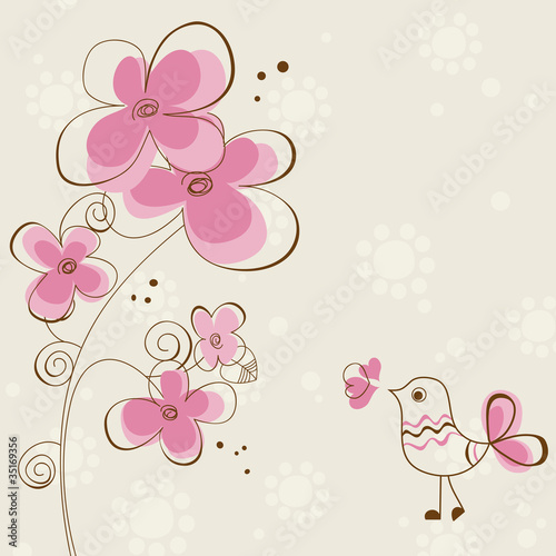 Deurstickers Abstract bloemen Romantic greeting card