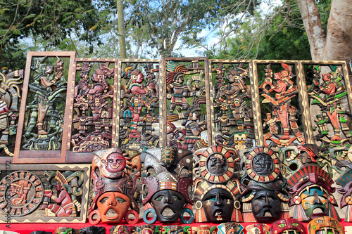 Deurstickers Graffiti collage Mayan Mexico wood handcrafts in jungle
