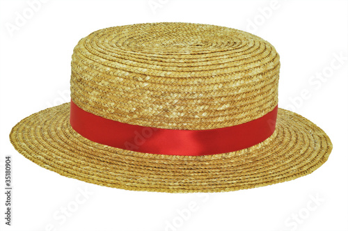 Photo Straw boater with red band