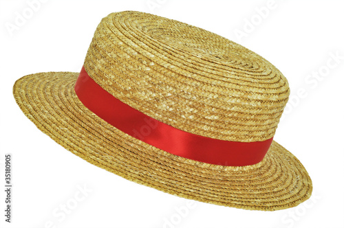 Photo Straw hat with red band